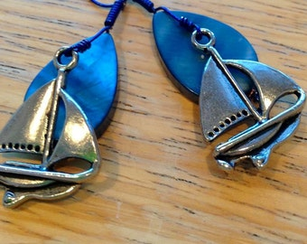 Blue Sail Boat Earrings