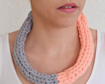 Hand made grey and coral - braided necklace