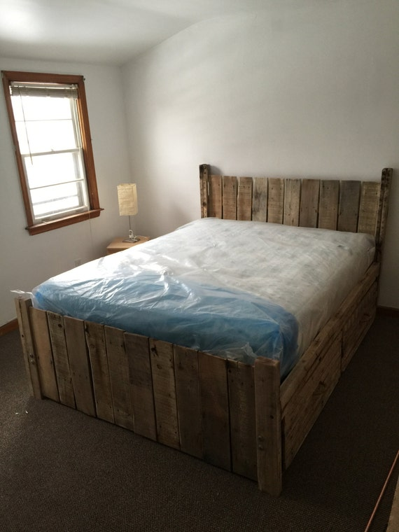 Items similar to pallet platform bed made to order for Platform bed made from pallets