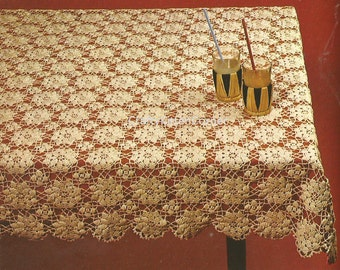 Vintage Square Motif Tablecloth Crochet PDF Pattern