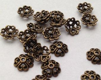 Antique Bronze Bead Caps 20 pcs