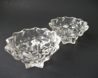 Vintage Glass Candle Holders, Reims France