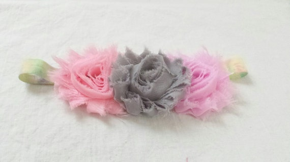 Items Similar To Grey And Pink Shabby Flowers On Tye Dye