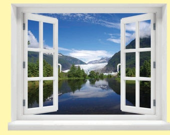 Window with a View Glacier Wall Mural