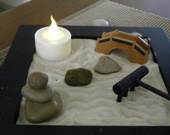 Miniature Zen Garden with Hand Balanced Meditation Stones