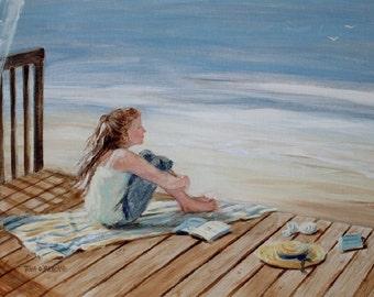 Beach greeting card, girl, beach art, coastal, shabby chic, nautical, from original oil painting by Tina O'Brien