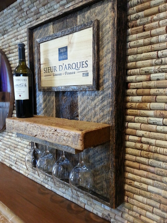 Wine rack wall art made from reclaimed wood #10018