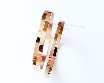 Brushed Rectangle Pattern Couple Bangle 18K Rose Gold Geometric Vintage Design Bracelet Best Friends Valentine's Day Wedding Ideal Gift