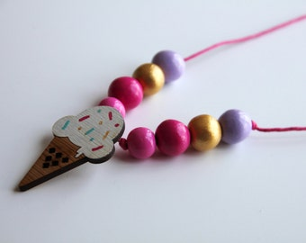 wooden beads ice cream necklace yummy