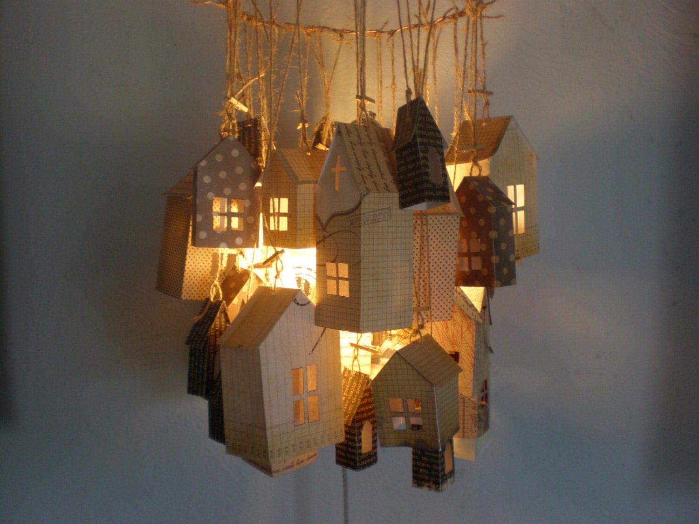Paper house chandelier light lantern - Paper lantern chandelier ...