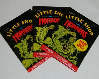 Vintage 1986 Topps Little Shop of Horrors (3) Sealed Packs of Stickers
