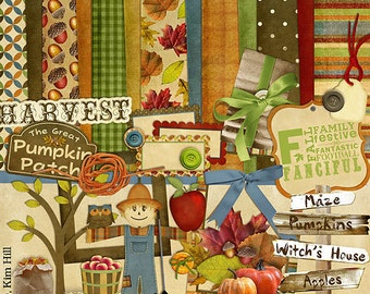 """Autumn Digital Scrapbook Kit - """"Fabulous Fall"""" with scarecrow, owl and pumpkins for digital scrapbook layouts in orange, brown, red, green"""