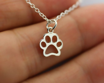 PAW PRINT NECKLACE - 925 Sterling Silver Charm Necklace Dog Cat Pet Animal Adopt