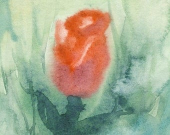 Rose #3 Original Watercolor Painting Matted