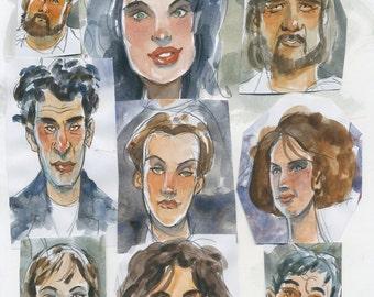 Original Illustration Faces color sketches Cartoon