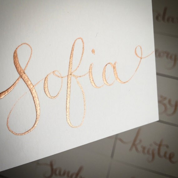 Items Similar To Gold Bronze Calligraphy Name Cards