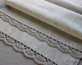 "Table Runner, crocheted edgings ,gray+white linen, 100% natural, 19 1/5""x61"""