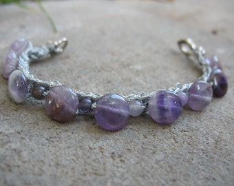 20% off! Clouds of Amethyst Grey Knit Beaded Bracelet