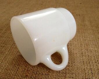Vintage Coffee Mug, White, Retro Mug, Anchor Hocking, Fire King, Vintage Coffee Shop Mug, Milk Glass, USA
