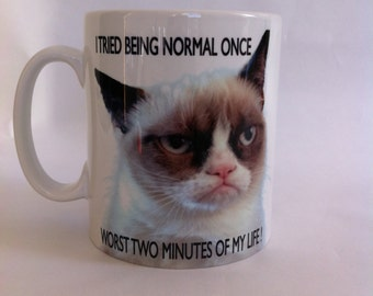 Grumpy cat i tried being normal once worst two minutes of my life mug gift birthday present 098
