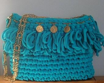 Crochet Turquoise Shoulder Bag, Summer Shoulder Bag, Lycra Bag
