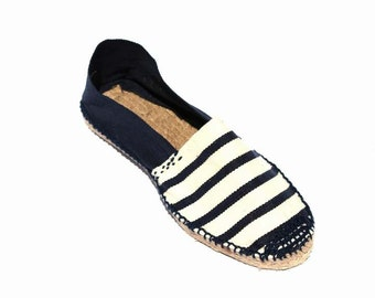 Sandals espadrilles from canvas and jute produced in Spain