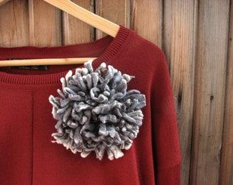 Gray felted floral brooch Flower Brooch Felted Gray jewelry Gray brooch Felt flower pins Wool Accessories  Poppy Badge Spring flowers