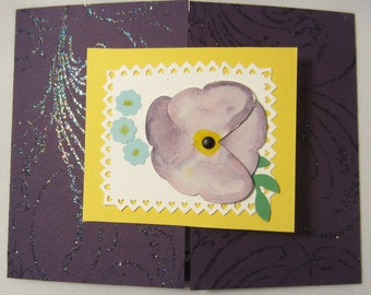 Puple Pansy Happy Belated Birthday Card