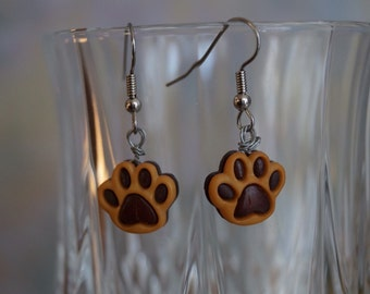 Brown Paw print earrings