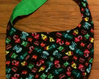 Happy Silly Monster Reversible Hobo Shoulder Bag / Tote