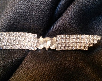 Gorgeous Vintage Rhinestone Pin with Teardrop Center Bridal or Prom Jewelry Wedding Accessories