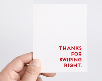 Tinder Card | Funny Tinder Card | Thanks For Swiping Right | Online Dating Card | Boyfriend Card | Anniversary Card | Funny Anniversary