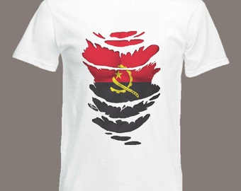 Angola Flag T-Shirt  see Muscles through Ripped T-Shirt Angolin in all sizes