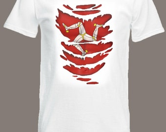 Isle of Man Flag T-Shirt see Muscles through Ripped T-Shirt Motorcycle TT Races in all sizes