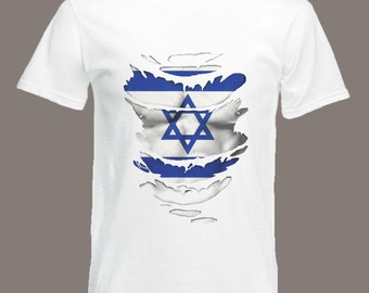 Israeli Flag T-Shirt see Muscles through Ripped T-Shirt Motorcycle TT Races in all sizes