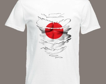 Japanese Flag T-Shirt see Muscles through Ripped T-Shirt Japan in all sizes