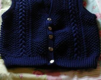 Adults navy aran waistcoat