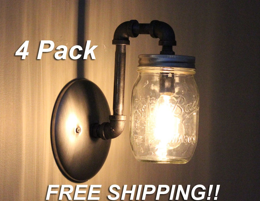 Mason Jar Wall Sconce Etsy : Industrial Rustic Mason Jar Wall Sconce Light Fixture 4 Pack