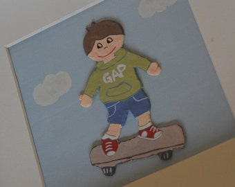 Pictures children in relief and custom - skateboard