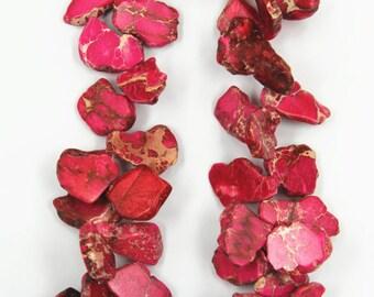 15.5 inches strand rose sea sediment jasper freeform slabs beads,veins aqua terra jasper top drilled nuggets slice jewelry,18-30X32-48mm