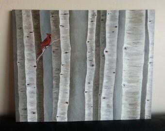Original Painting - Aspens with Cardinal