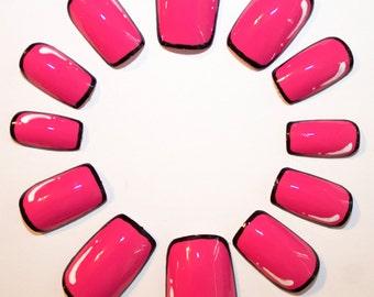 Pink Pop Art False Nails