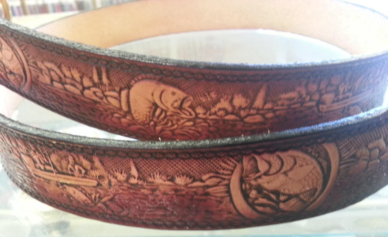 bass fishing designed leather belt by sportstradingpost on