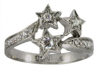 Star Ring In 14k White Gold Featuring Milgrain Decoration And Diamond Accents