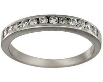 Diamond Wedding Ring 0.25 Carat Channel Set Wedding Ring 14K White Gold