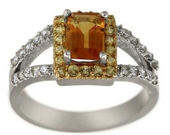 Citrine Emerald Cut In Modern Split Shank Diamond Ring 14K