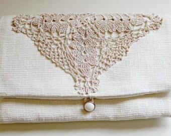 Wedding Clutch, Formal Clutch, Fabric Clutch, Fold Over Clutch, Small Purse, Boho Clutch, Summer Clutch, Bohemian Style, Beige Purse