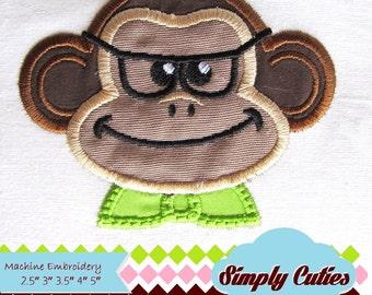 Monkey Little nerd MACHINE EMBROIDERY / INSTANT