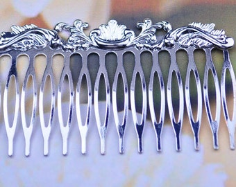5pcs silver plated Hair Combs.large shiny silver hair combs,14 teeth hair combs 74x45mm