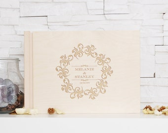 Floral Ornament Wedding Guest Book Engraved Wooden Book Custom